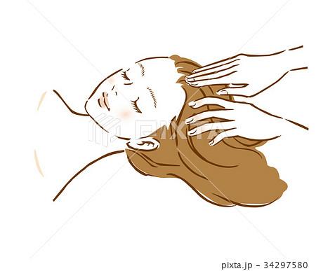女性 頭皮マッサージ 美容 ヘッドスパ 34297580