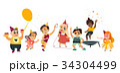 ベクトル 少年 少女のイラスト 34304499