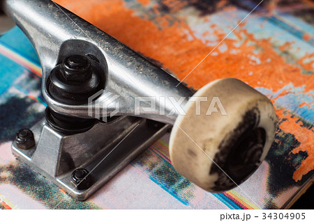 Skateboard truck with chassis close up 34304905