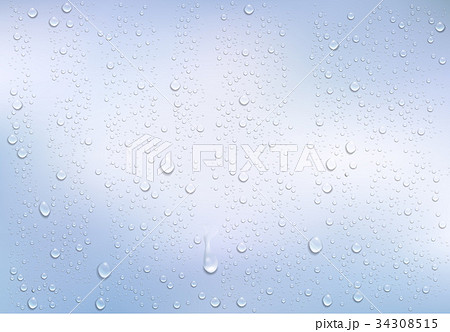 Realistic water droplets on the transparent window 34308515