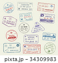 Vector icons of city passport stamps world travel 34309983
