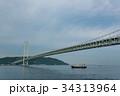 朝の明石海峡大橋 通り過ぎる船 34313964