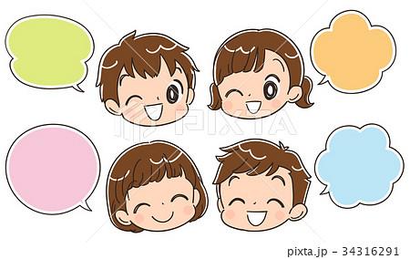 子どもたちの顔アイコンとふきだし 34316291