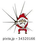 クリスマスのチラシでカットとして使える、大きな袋を持ったサンタクロース。 34320166