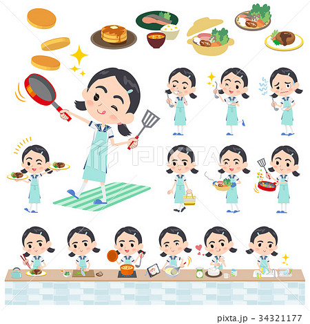 Sailor suit Thick eyebrows girl_cooking 34321177