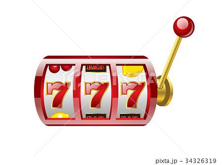 Red 777 slot - modern vector isolated illustration 34326319