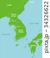 北朝鮮と周辺国地図 (英語) 34326622