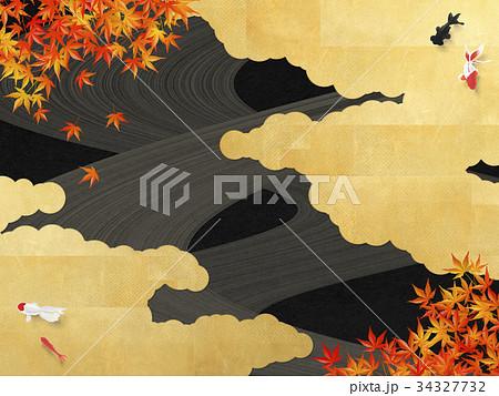 黒い和紙 金箔の雲 流線 紅葉 きんぎょ 34327732