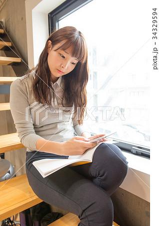 女子高生 高校生 jk 大学生 勉強 一人 かわいい きれい 美しい ロング パンツ 34329594