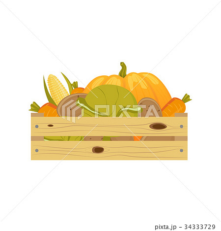 autumn vegetables in wooden storage boxのイラスト素材 34333729 pixta