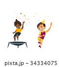vector flat cartoon kids at party set 34334075