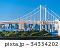 《東京都》お台場・レインボーブリッジを望む風景 34334202