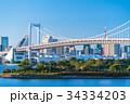 《東京都》お台場・レインボーブリッジを望む風景 34334203