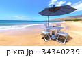 ビーチパラソル ビーチ 海のイラスト 34340239