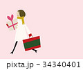 ショッピング 歩く 女性のイラスト 34340401