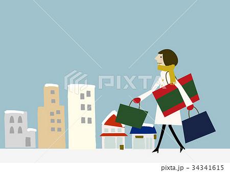 寒い日 買い物 女性 34341615