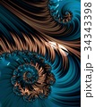 Brown and blue spiral abstract fractal pattern 34343398