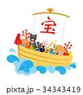 年賀状素材 戌年 犬のイラスト 34343419