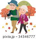 紅葉狩り 秋 年配夫婦のイラスト 34346777