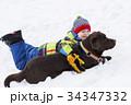 雪 遊ぶ 景色の写真 34347332