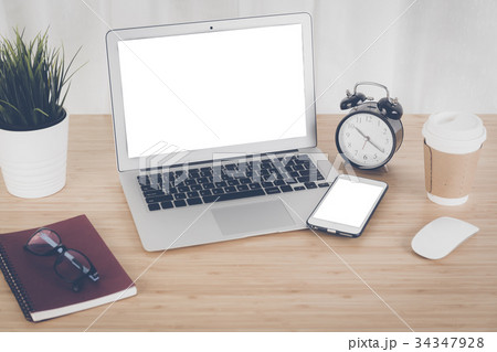 Laptop with smart phone notebook and coffee cupの写真素材 [34347928] - PIXTA