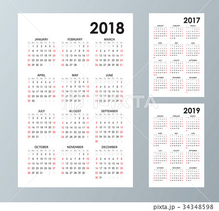 simple calendar template for 2017 2018 and 2019のイラスト素材