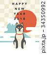 年賀状 ベクター 犬のイラスト 34350992