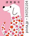 犬 年賀状 干支のイラスト 34352104