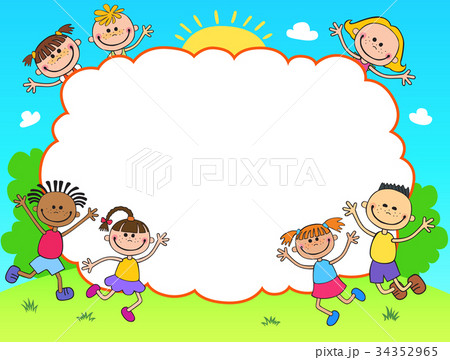 kids diploma certificate background designのイラスト素材 34352965