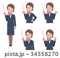 スーツ&スカーフ 女性 斜め 指示棒 セット 34358270