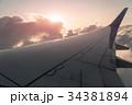 飛行機 翼 航空機の写真 34381894