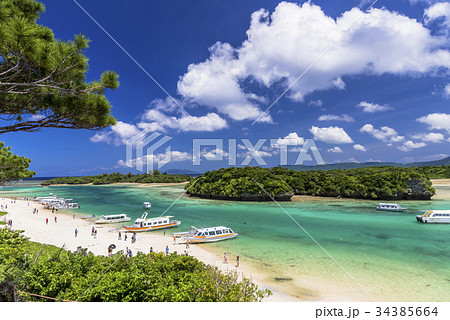 石垣島の川平湾のサンゴ礁の海 34385664
