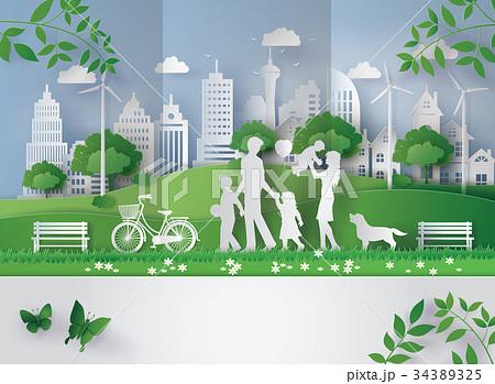paper cut of eco concept. 34389325