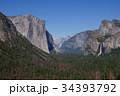 アメリカ ヨセミテ国立公園のトンネルビューから見た風景 34393792