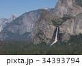 米国 ヨセミテのトンネルビューから見た黄金に染まったブライダルベール滝 34393794