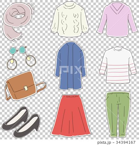 秋冬のファッションアイテムのイラスト(セット) 34394167