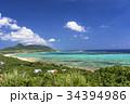 石垣島の玉取崎展望台よりサンゴ礁の海 34394986