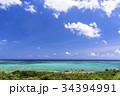 石垣島の玉取崎展望台よりサンゴ礁の海 34394991