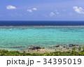 石垣島の玉取崎展望台よりサンゴ礁の海 34395019