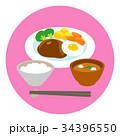 ハンバーグ お味噌汁 ごはんのイラスト 34396550