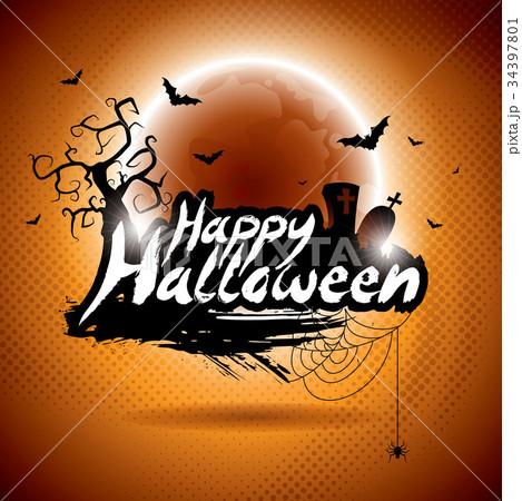 vector illustration on a happy halloween themeのイラスト素材