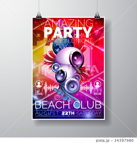Vector Amazing Party Flyer Design with speakers 34397980