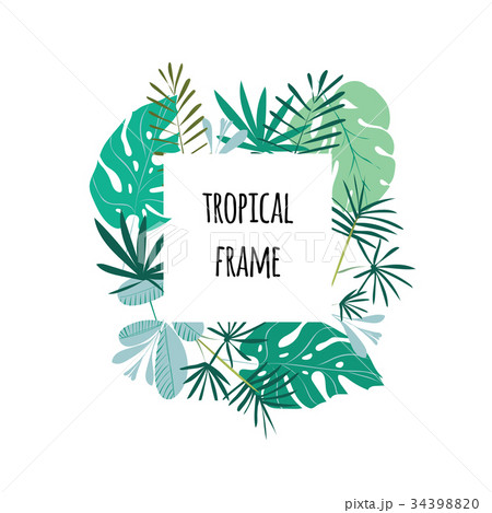 Tropical frame, template with place for text 34398820