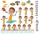 男性 学生 料理人のイラスト 34400915