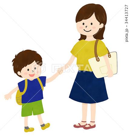 おでかけ親子(お母さんと男の子) 34413727