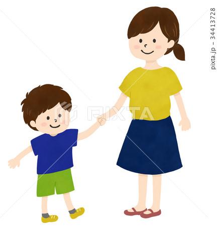 なかよし親子(お母さんと男の子) 34413728