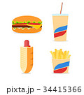 Fast food icons set with simple flat colored 34415366