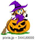 魔女 ハロウィン 魔法使いのイラスト 34416600