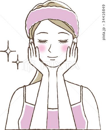 お肌のお手入れをする女性のイラスト素材 34416849 Pixta