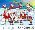 サンタ サンタクロース クリスマスのイラスト 34420915